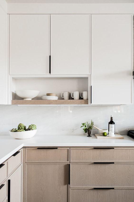 Cozinha em L com silestone branco