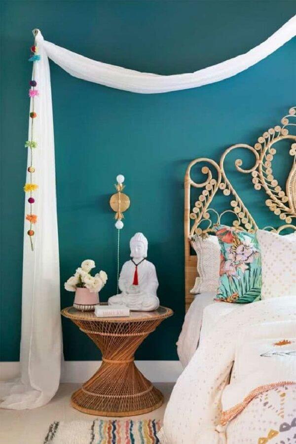 Decoração indiana de quarto leve e clean. Fonte: Pinterest