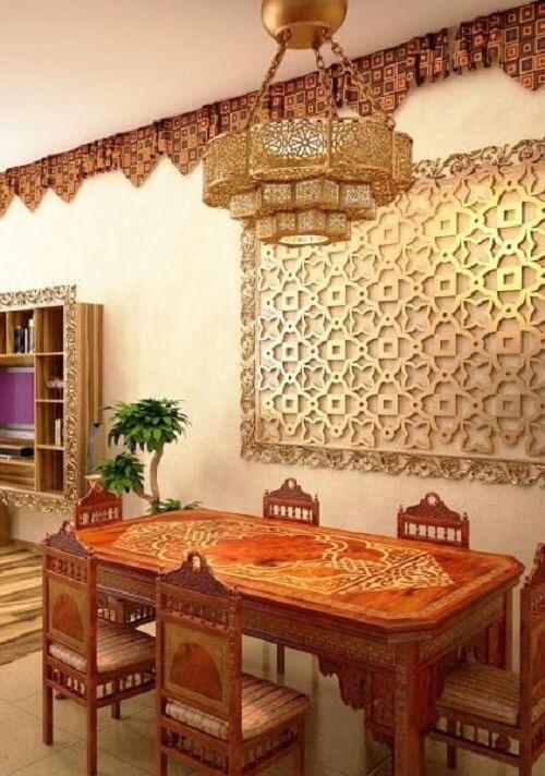 Decoração indiana para sala de jantar. Fonte: Lushome