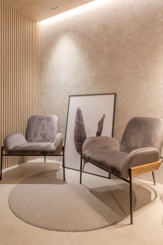 Decoração minimalista para sala de espera
