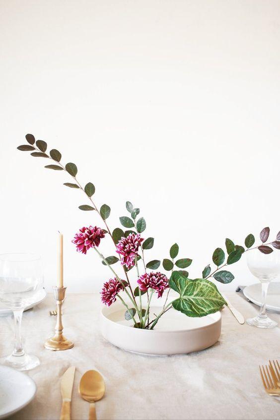 Ikebana como centro de mesa