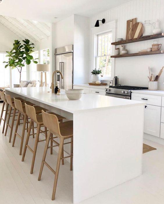 Ilha de cozinha moderna de silestone branco