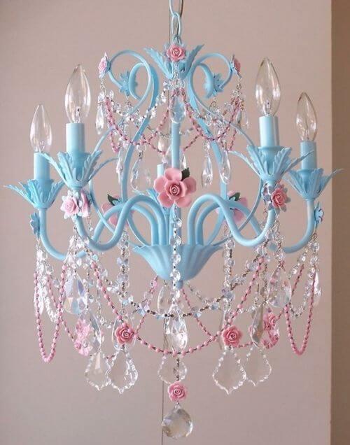 Lustre infantil azul e rosa de cristal