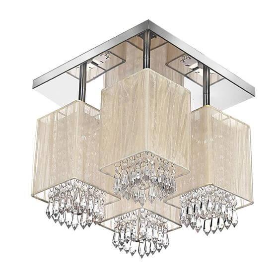 Lustre plafon quadrado espelhado