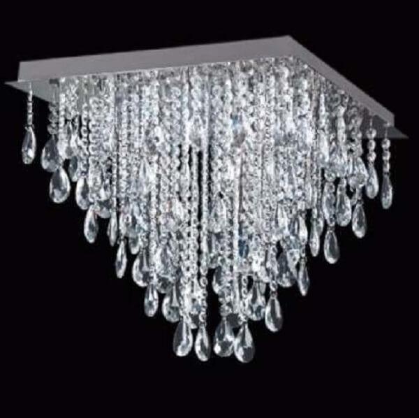 Lustre quadrado com cristais para sala de estar luxuosa
