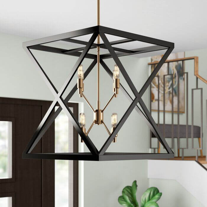 Lustre quadrado criativo moderno para decoração