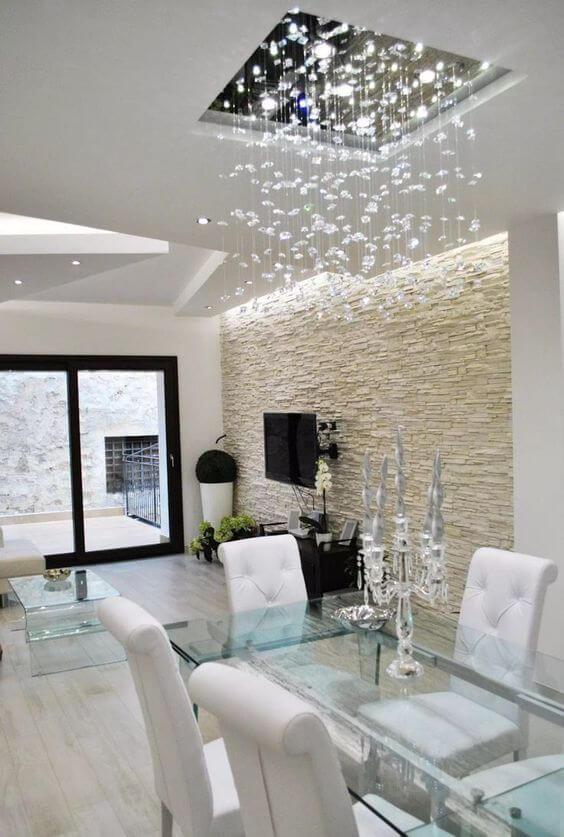 Lustre quadrado de cristal para sala com mesa de jantar moderna