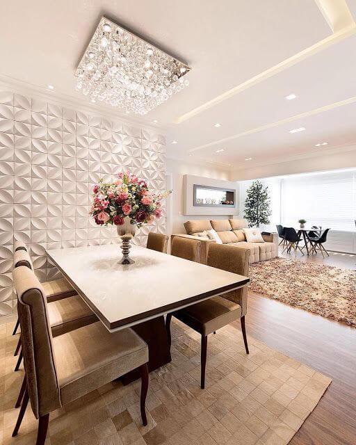 Lustre quadrado de cristal para sala de estar com porcelanato 3D