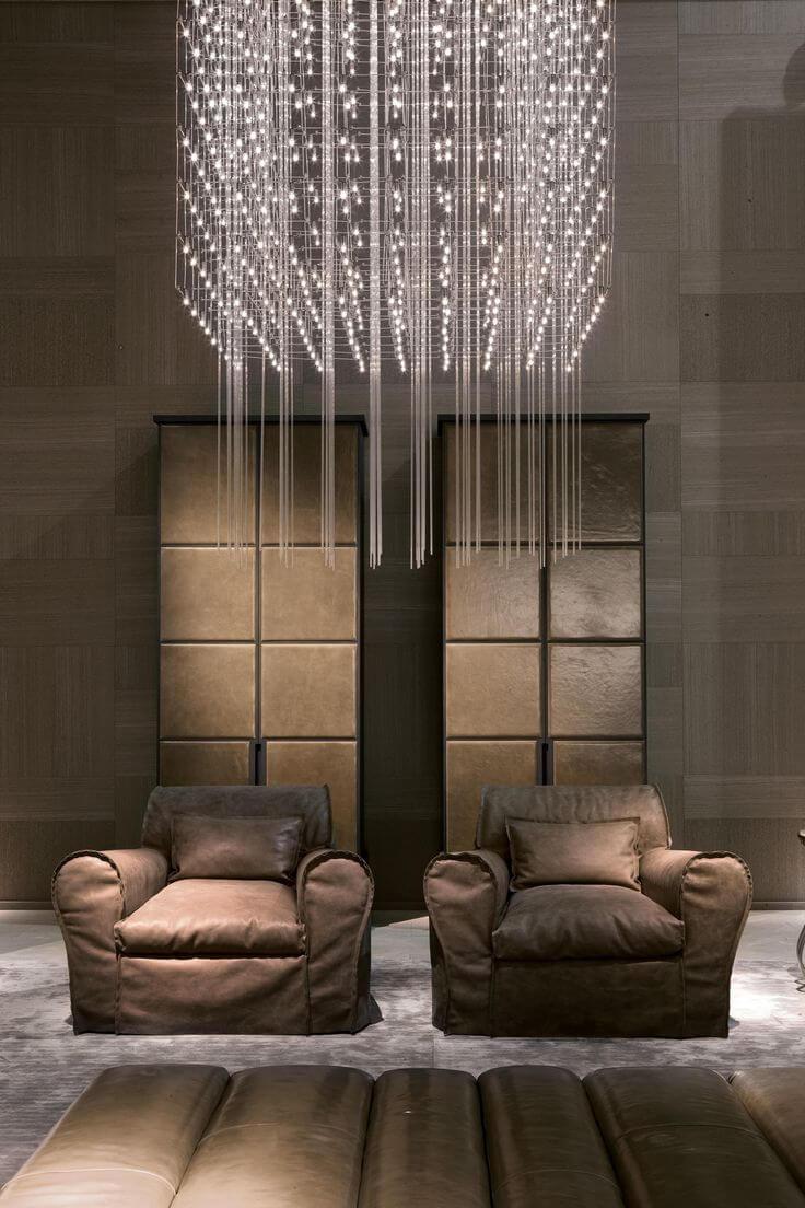 Lustre quadrado de cristal pendente na decoração da sala de estar