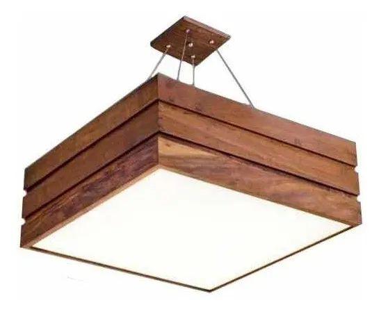 Lustre quadrado de madeira para decoração de casa moderna