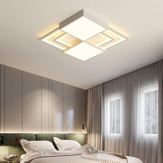 Lustre quadrado no quarto moderno