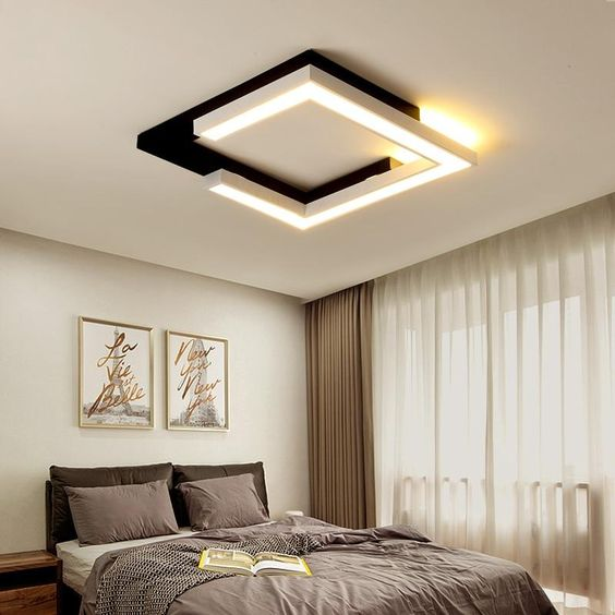 Lustre quadrado para quarto moderno em preto e branco