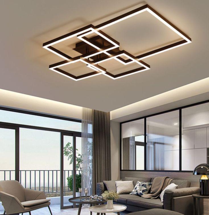 Lustre quadrado para sala moderna em tons neutros