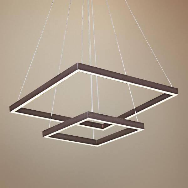 Lustre quadrado pendente para decoração moderna