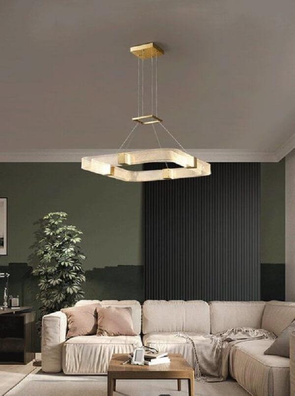 Lustre quadrado pendente para sala de estar moderna