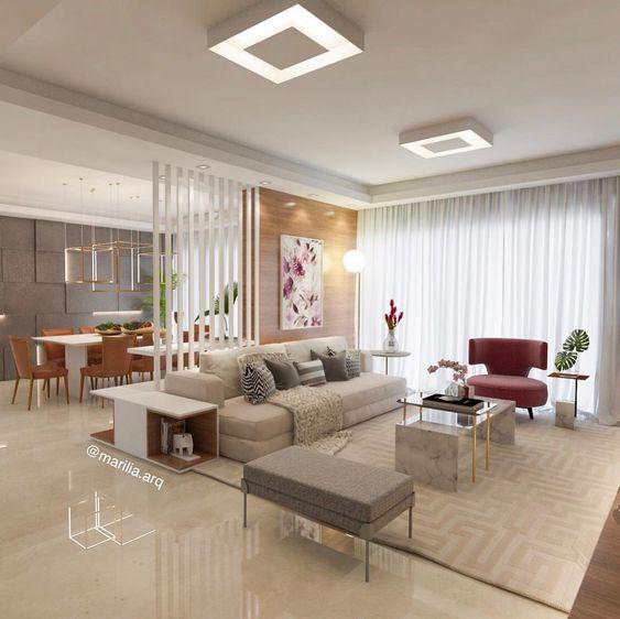 Lustre quadrado plafon na sala de estar