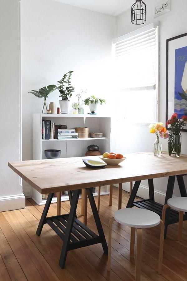 Mesa cavalete para sala de jantar rústica