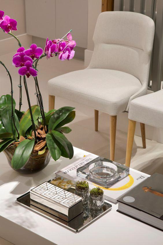 Mesa de centro decorada para sala de espera para clínica