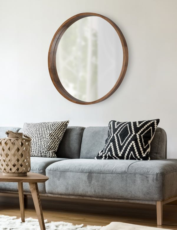 Moldura redonda de madeira para sala de estar