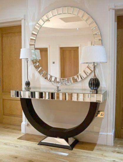 Moldura redonda espelhada para sala de estar com aparador preto