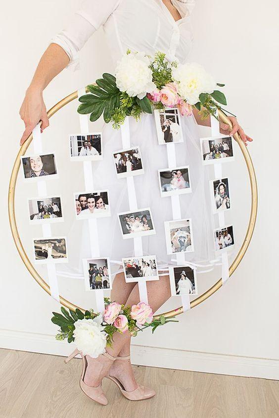 Moldura redonda para fotos DIY