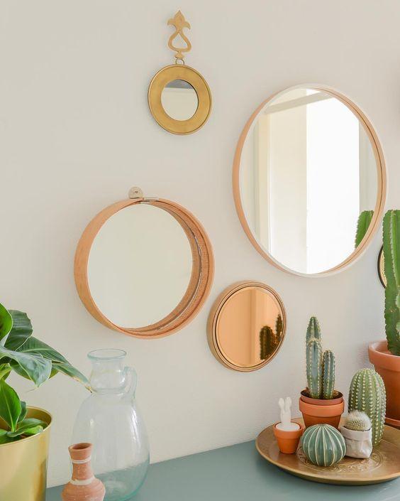 Moldura redonda rose gold para espelho na decoração