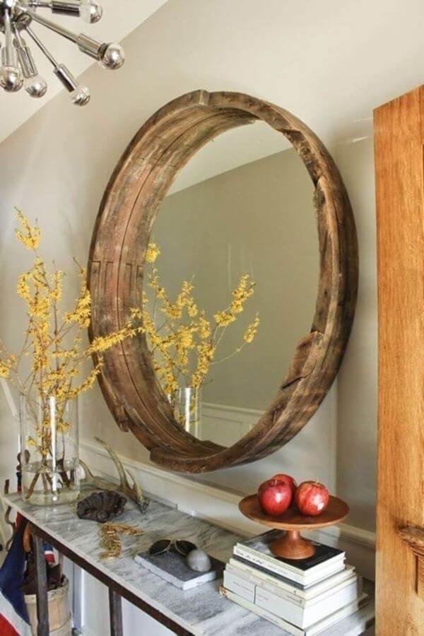 Moldura redonda rustica de madeira