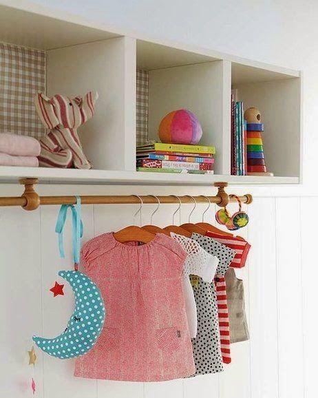 Nicho com cabideiro para quarto infantil com cômoda