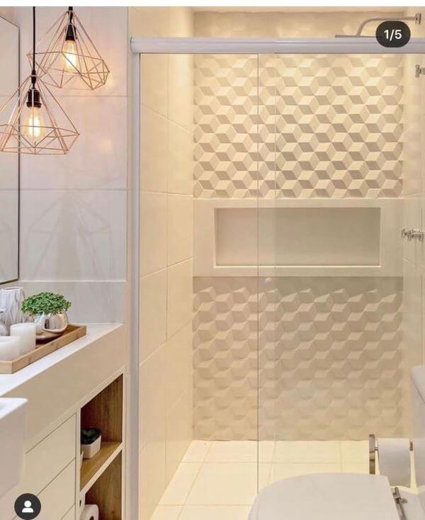 Nicho de embutir para banheiro com azulejo 3D branco