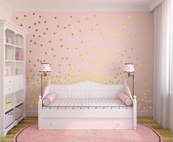 Papel de parede rosa e dourado