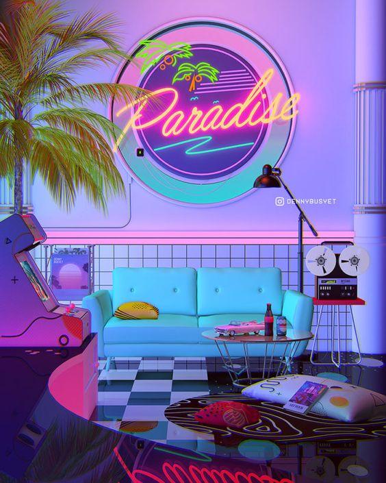Parede de sala decorada com tema retro e luz neon