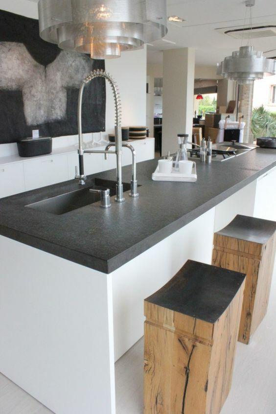 Pedra ardósia para bancada de cozinha branca