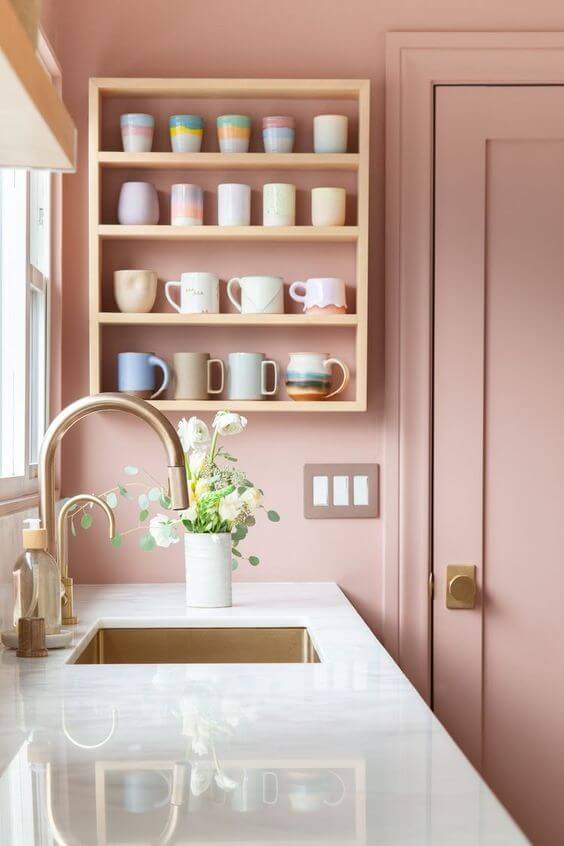 Pedra para bancada de cozinha branca e rosa
