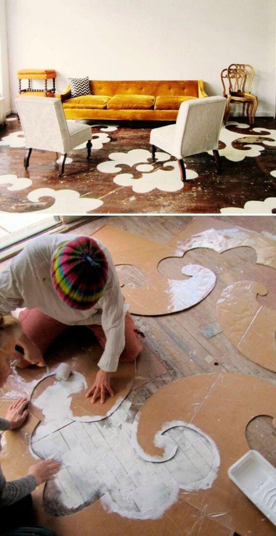Piso pintado com moldura criativa