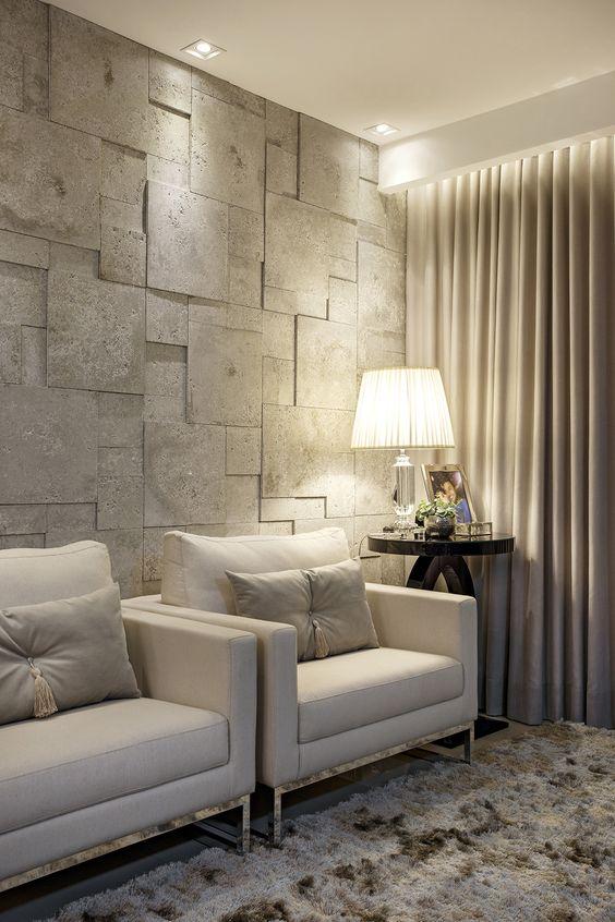 Poltronas cinza para sala de espera e papel de parede 3d