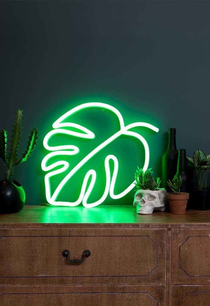 Quarto com luz neon verde