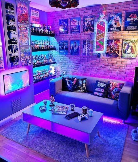 Sala com iluminação luz neon
