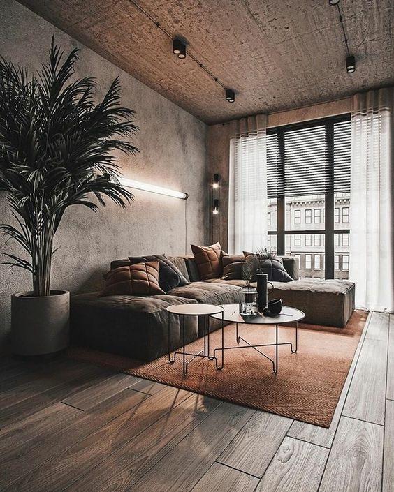 Sala com parede de cimento queimado e sofá estilo industrial