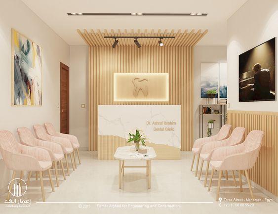 Sala de espera com cadeira confortáveis