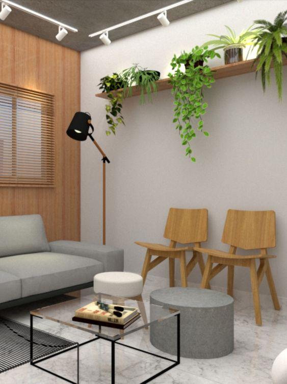 Sala de espera para escritório com cadeira de madeira e plantas