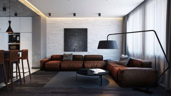 Sala grande decorada com tons de marrom e cinza super moderna