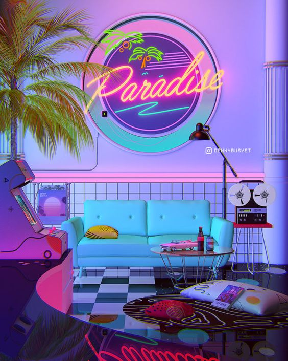 Sala temática retrô com luz neon