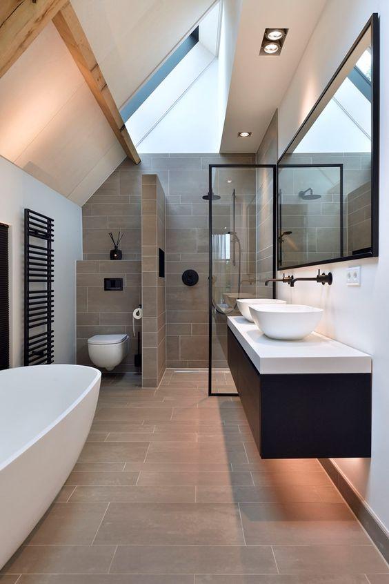 Silestone branco para banheiro moderno em preto e branco
