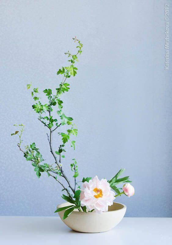 Vaso de ikebana branca com flores