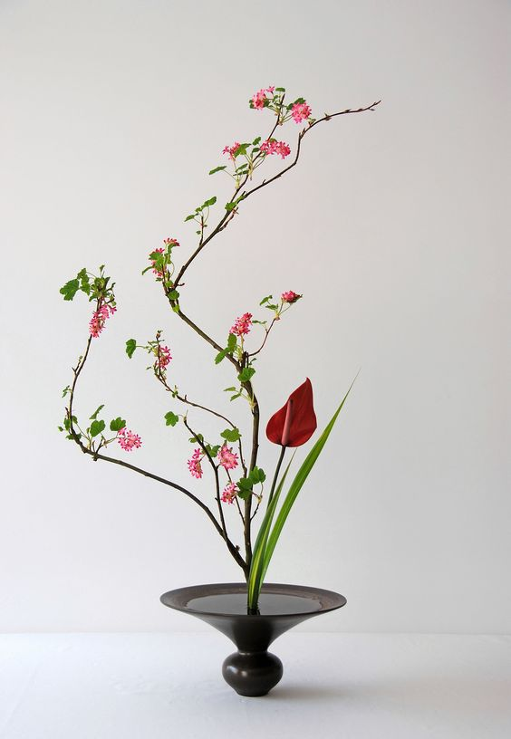Vaso preto para ikebana delicada e vermelha
