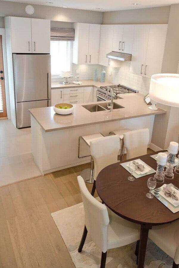 armário de cozinha estilo americano planejado em U  Foto Pinterest