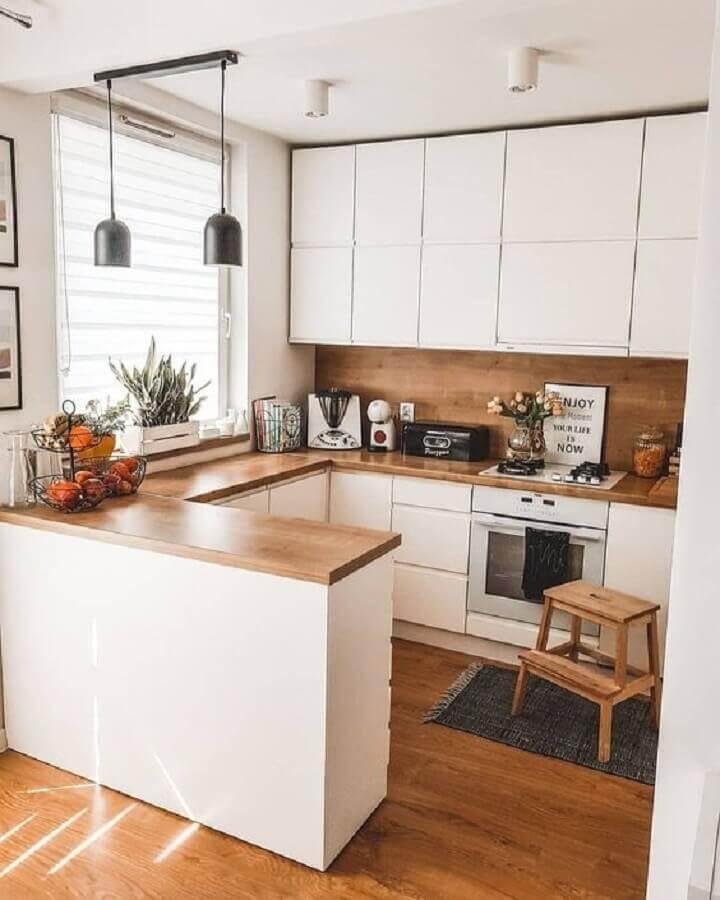 bancada de madeira em U para decoração de cozinha estilo americana branca Foto Pinterest