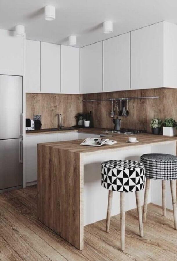 bancada de madeira para decoração de cozinha estilo americana branca planejada  Foto Pinterest