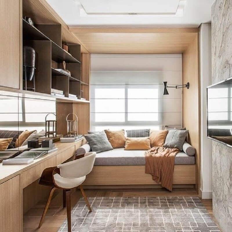 bancada de madeira para decoração de quarto solteiro com escritório planejado Foto Pinterest