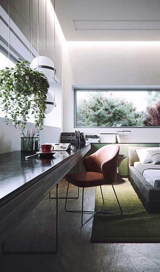 bancada suspensa planejada para decoração moderna de quarto com escritório Foto Futurist Architecture